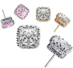 Feshionn IOBI Earrings Buy all 3 discounted Royal Princess 6mm Cut Simulated White Or Pink Sapphire Stud Earrings