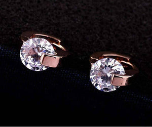 Feshionn IOBI Earrings Caress Naked IOBI Crystals Rose Gold Hinged Hoop Earrings
