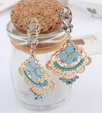 "Feshionn IOBI Earrings ""Charlotte's Oceanside"" Aqua Chandelier Earrings"