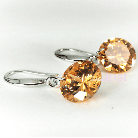 Feshionn IOBI Earrings Citrine / 10mm Naked IOBI Crystals Drill Earrings - The Exotic Collection by Feshionn IOBI