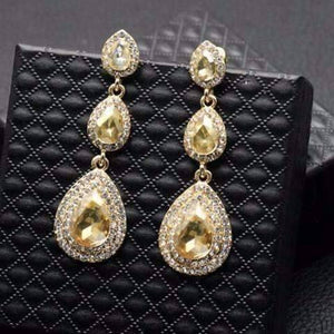 Feshionn IOBI Earrings Classique Champagne Triple Crystal Drop Earrings