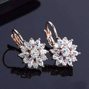 Feshionn IOBI Earrings Clear on Rose Gold ON SALE - Brilliant Austrian Crystal Flower Earrings