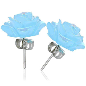 Feshionn IOBI Earrings CLEARANCE - Light Blue Rose Stud Earrings