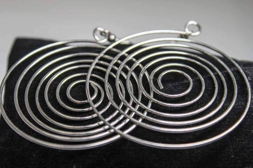 Feshionn IOBI Earrings Stainless Steel CLEARANCE - Ripple Effect Stainless Steel Wire Round Swirl Earrings