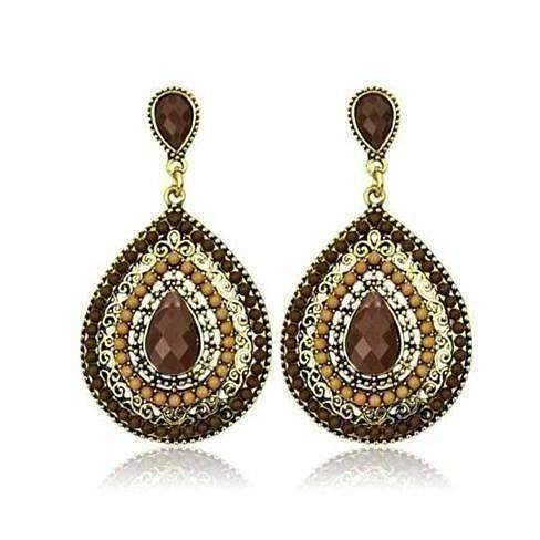 Feshionn IOBI Earrings Coffee ON SALE - Beaded Filigree Drop Earrings in Coffee