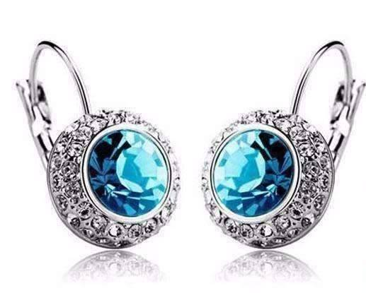 Feshionn IOBI Earrings White Gold / Aqua Colorful Bezel Set IOBI Crystals Earrings