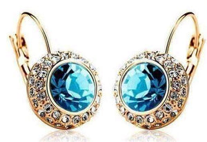 Feshionn IOBI Earrings Colorful Bezel Set IOBI Crystals Earrings