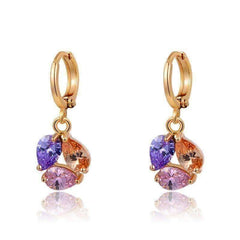 Feshionn IOBI Earrings Colorful Gold ON SALE - Crystal Cluster Dangling Charm Earrings