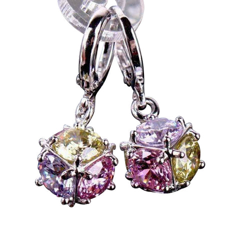 Feshionn IOBI Earrings Colorful in Yellow, Pink, Purple ON SALE - Crystal Cube Dangling Charm Earrings