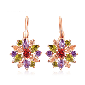 Feshionn IOBI Earrings Colorful on Rose Gold ON SALE - Brilliant Austrian Crystal Flower Earrings