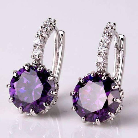 Feshionn IOBI Earrings Cosmic Purple on White Gold Exotic Gems CZ Solitaire Hoop Earrings
