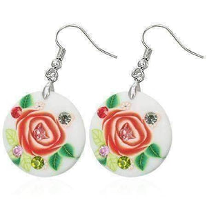 Feshionn IOBI Earrings Cream with Peach Rose Round Handcrafted Floral Cane Work Clay & CZ Earrings ~ Five Lively Colors to Choose From