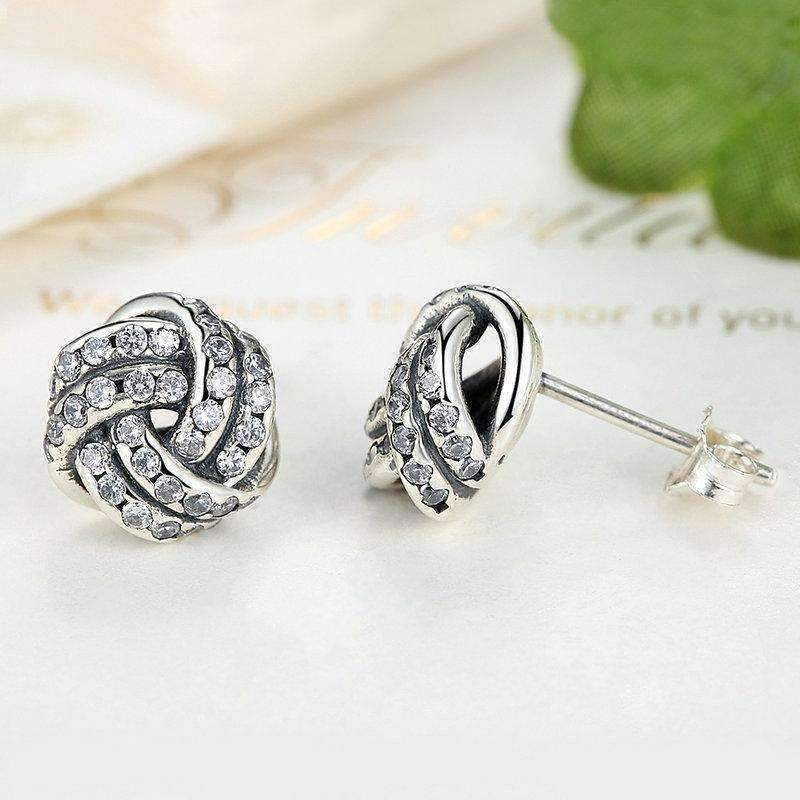 Feshionn IOBI Earrings CZ Accented Sterling Silver Love Knot Stud Earrings