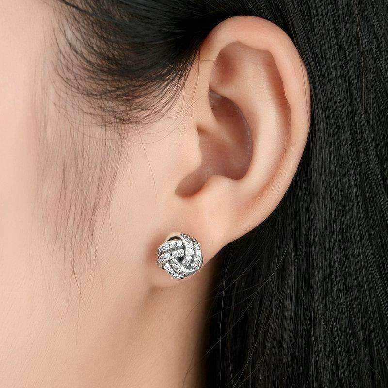 e2bf959d2d529 CZ Accented Sterling Silver Love Knot Stud Earrings