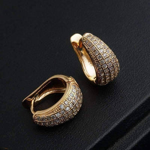 Feshionn IOBI Earrings CZ Encrusted Creole Hoop Earrings in 18K White or Yellow Gold