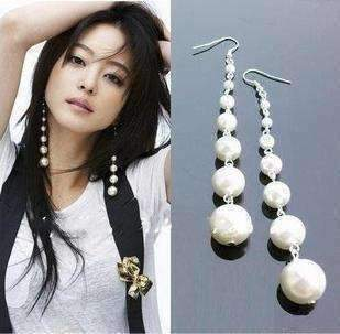 Feshionn IOBI Earrings Pearl Dangling Pearl Shoulder Duster Earrings