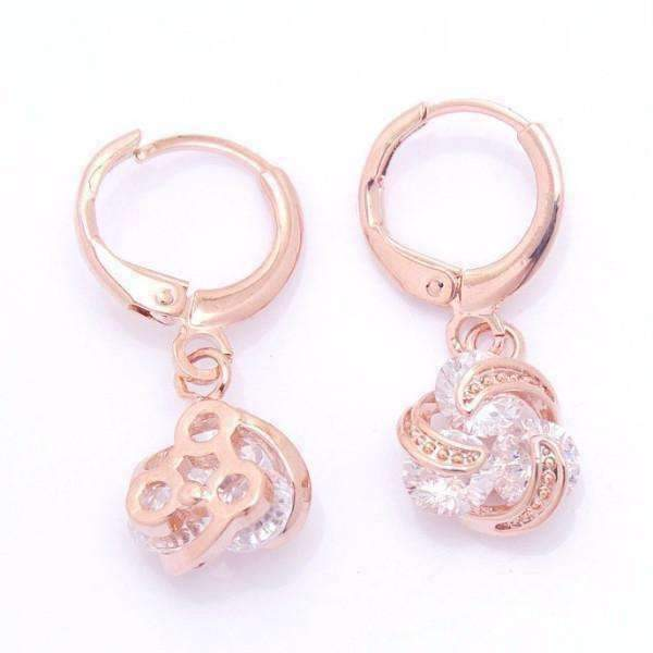 Feshionn IOBI Earrings Rose Gold Dangling Three Crystal 18K Rose Gold Spiral Love Knot Earrings