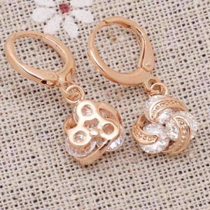 Feshionn IOBI Earrings Dangling Three Crystal 18K Rose Gold Spiral Love Knot Earrings