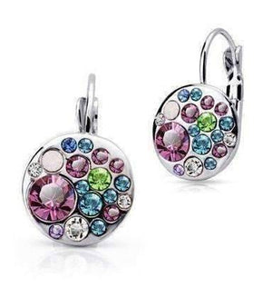 Feshionn IOBI Earrings Dark Pink Stone Party Confetti Austrian Crystal White Gold Plated Leverback Earrings