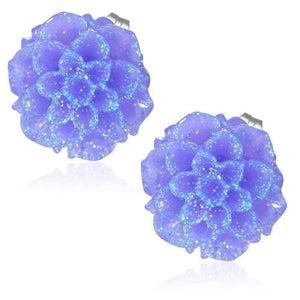 Feshionn IOBI Earrings Deep Purple Shimmering Dahlia Flower Stud Earrings in Three Fresh Colors