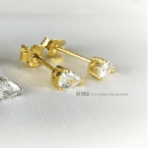 Feshionn IOBI Earrings Delicata D'ora Pear Shape .35CT IOBI Cultured Diamond Solitaire Stud Earrings