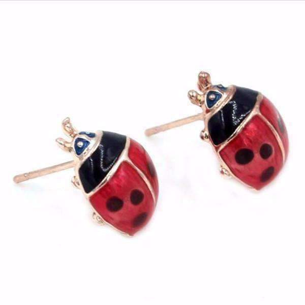 Delightful Red Enamel and Gold Lady Bug Stud Earrings For Woman