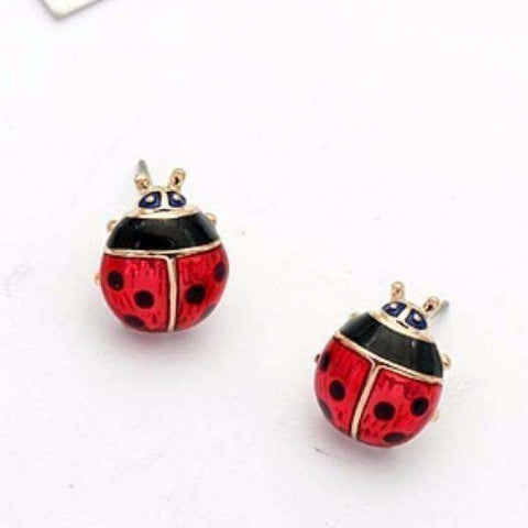 Feshionn IOBI Earrings Delightful Red Enamel and Gold Lady Bug Stud Earrings