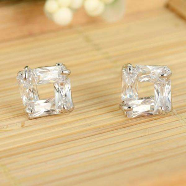 Feshionn IOBI Earrings White Gold Diamond Effect Austrian Crystal Square Stud Earrings
