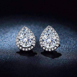 Feshionn IOBI Earrings Diamond White Diamond White Infused 1CT Austrian Crystal Pear Stud Earrings