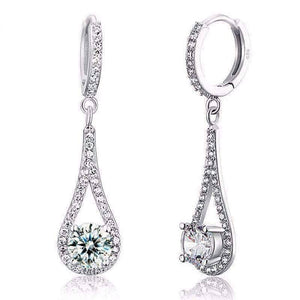 Feshionn IOBI Earrings Diamond White Droplet Simulated White Sapphire Drop Earrings