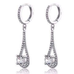 Diamond White Droplet Simulated White Sapphire Drop Earrings