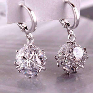 Feshionn IOBI Earrings Diamond White in Platinum ON SALE - Crystal Cube Dangling Charm Earrings