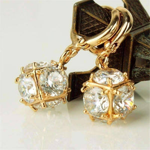 Feshionn IOBI Earrings Diamond White in Yellow Gold ON SALE - Crystal Cube Dangling Charm Earrings