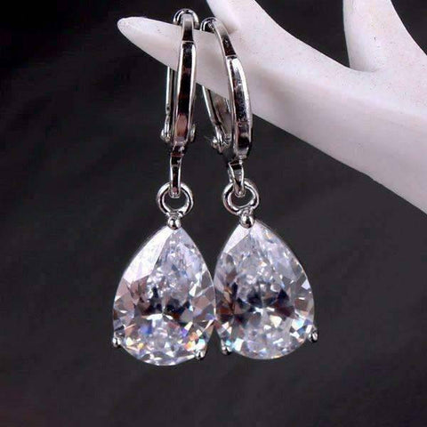 Feshionn IOBI Earrings Diamond White on Platinum plated ON SALE - Raindrop Diamond Dust Infused Dangling Earrings in Diamond White or Blushing Pink