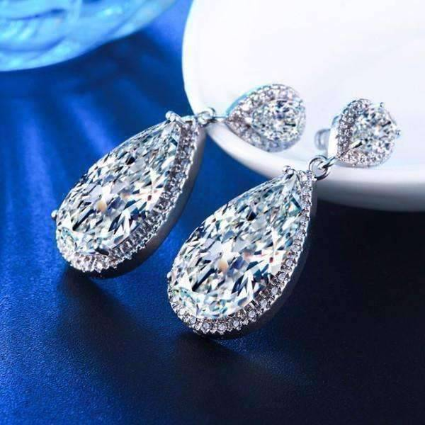 Feshionn Iobi Earrings Diamond White Stardust Infused Austrian Crystal Chandelier
