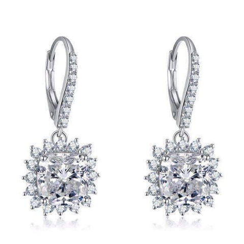 Feshionn IOBI Earrings Duchess 4CT Cushion Cut Floral Halo IOBI Cultured Diamond Earrings