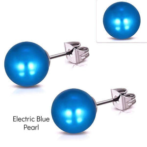 Feshionn IOBI Earrings Electric Blue Pearl Colorful Medley Pearl Bead Earrings on Stainless Steel ~ 11 Colors to Choose!