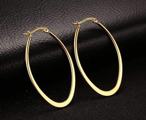 Feshionn IOBI Earrings Elongated Oval Polished 18K Gold Plated Stainless Steel Hoop Earrings