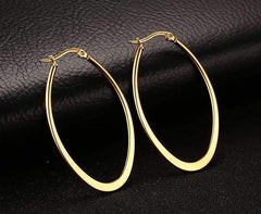 ON SALE - Elongated Oval Polished 18K Gold Plated Stainless Steel Hoop Earrings