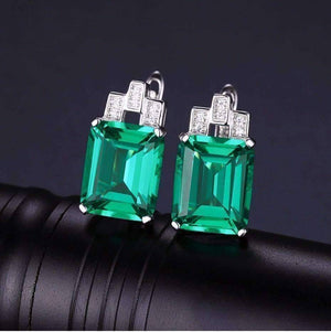 Feshionn IOBI Earrings Emerald Earrings Heritage 8CT Emerald Cut Simulated Russian Emerald IOBI Precious Gems Earrings