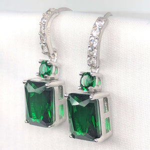 Feshionn IOBI Earrings Emerald Exquisite Emerald Cut 4CT Dangling CZ Earrings