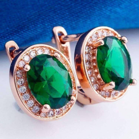 Feshionn IOBI Earrings Emerald Green on Rose Gold Oval Solitaire Halo Earrings in Sapphire, Emerald, Topaz or White CZ