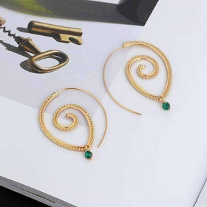 Feshionn IOBI Earrings Enlightened Jewel Accented Spiral Hoop Earrings in Silver or Gold Tone