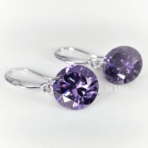 Feshionn IOBI Earrings Exotic Amethyst Naked IOBI Crystals Drill Earrings - 10mm