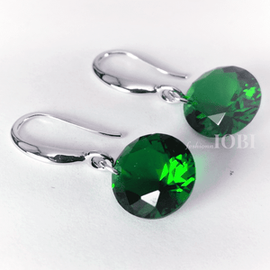Feshionn IOBI Earrings Exotic Emerald ON SALE - Exotic Emerald Naked IOBI Crystals Drill Earrings - 10mm