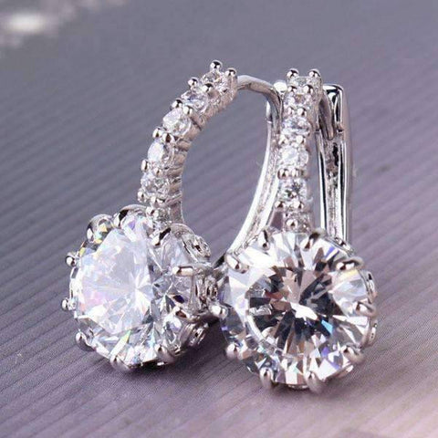 Feshionn IOBI Earrings Exotic Gems CZ Solitaire Hoop Earrings