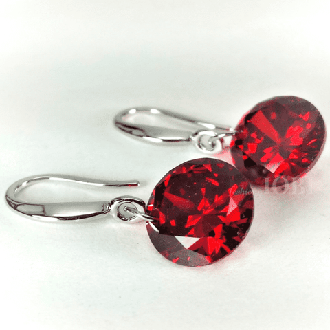 Feshionn IOBI Earrings Exotic Ruby Exotic Ruby Naked IOBI Crystals Drill Earrings - 10mm