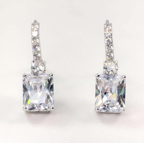 Feshionn IOBI Earrings Exquisite Emerald Cut 4CT Dangling CZ Earrings