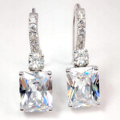 ON SALE - Exquisite Emerald Cut 4CT Dangling CZ Earrings