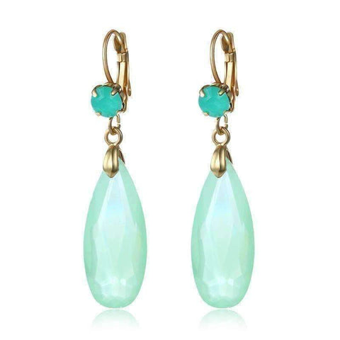 Feshionn IOBI Earrings Fascinating Long Teardrop Bead and CZ Dangle Earrings ~ Six Colors to Choose!
